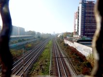 Eisenbahn in Mailand Stockbild