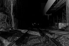 Eisenbahn nachts Stockbild