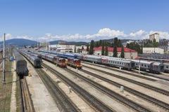 Eisenbahn, Transportnabenstation Adler, Sochi, Krasnodar-Region, Russland Stockbild