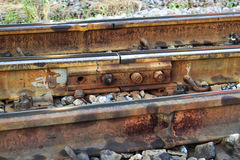 Eisenbahn und Sechskantmutter Lizenzfreie Stockbilder