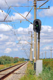 Eisenbahn und Semaphor mit grünem Signal Lizenzfreie Stockfotografie