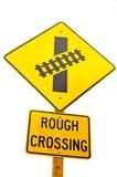 Eisenbahn-Zeichen - raue Überfahrt Stockbilder