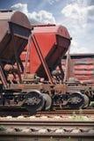 Eisenbahnautos geparkt Stockfotografie