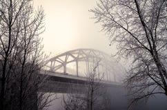 Eisenbahnbrücke im Nebel Lizenzfreies Stockbild