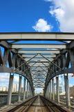 Eisenbahnbrücke in Moskau Stockbild