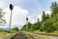 Eisenbahnkorridor, Stahlschiene im Naturhintergrund stockbild