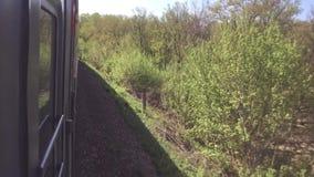 Eisenbahnlebensstil-Reisekonzept Sich fortbewegender Zug mit den Passagierlastwagenwagen, die durch Schiene in der Natur schön si stock video