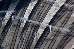 Eisenbahnlinie angesehen von oben Lizenzfreie Stockfotos