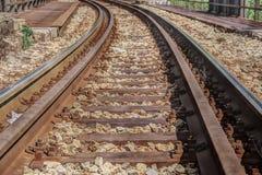 Eisenbahnlinie, die zu den Abstand führt stockfoto