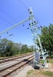 Eisenbahnlinie im countyside Stockfotografie