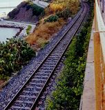 Eisenbahnlinie umgeben durch Grün Stockbilder
