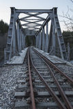Eisenbahnlinie und Brücke Stockbild