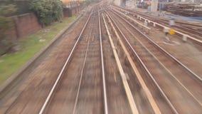 Eisenbahnlinien in der hohen Geschwindigkeit Stockfotos