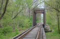Eisenbahnlinien, die in den Abstand über dem Horizont hinaus ausdehnen Lizenzfreies Stockfoto