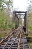 Eisenbahnlinien, die in den Abstand über dem Horizont hinaus ausdehnen Stockbild