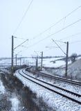 Eisenbahnlinien im Winter Stockfotos