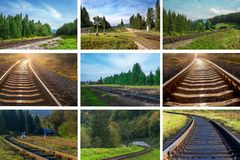 Eisenbahnlinien von verschiedenen Richtungen, Landschaft der Eisenbahn tr lizenzfreies stockbild