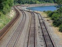 Eisenbahnlinien zu wo? Stockfotografie