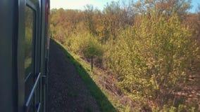 Eisenbahnreise-Lebensstilkonzept sich fortbewegender Zug mit den Passagierlastwagenwagen, die durch Schiene in der Natur schön si stock footage