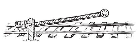 Eisenbahnsperre Blumenhintergrund mit Gras vektor abbildung