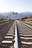 Eisenbahnspur in der Wüste Lizenzfreie Stockbilder