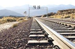 Eisenbahnspur in der Wüste Lizenzfreie Stockfotografie