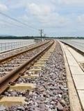 Eisenbahnspuren curving1 Lizenzfreies Stockbild