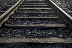 Rail track. Full-frame detail of a rail track royalty free stock photography
