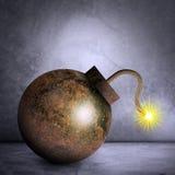 Eisenbombe auf Grau lizenzfreie stockfotografie