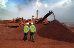 Eisenerz-Bergwerke in Indien Lizenzfreies Stockbild