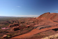 Eisenerz-Bergwerksbetriebe Pilbara-Region West-Australien Stockbild
