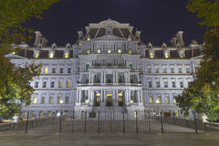Eisenhower Administration Building at night. This is the Eisenhower Administration Building in Washington DC.  It sits right next to the White House and provides Stock Image