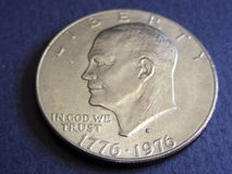 Eisenhower Dollar. Dwight D. Eisenhower silver dollar, US currency royalty free stock photos