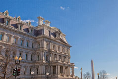 Eisenhower Executive Office Building and Washington Monument Royalty Free Stock Images