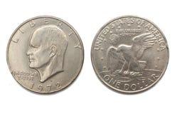 Eisenhower uma moeda de prata do dólar isolada no fundo branco Foto de Stock Royalty Free