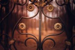 Eisenzaun dekorativ mit Blumen Stockbilder