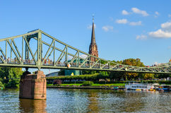 The Eiserner Steg - bridge over the river Main in Frankfurt Royalty Free Stock Images