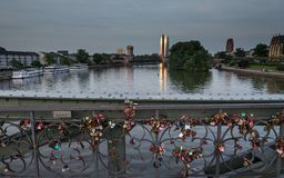 Eiserner Steg: Locks of Love Bridge over Main River stock photo
