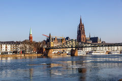 Eiserner steg at river Main stock photo