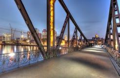 Eisernersteg and City Lights Royalty Free Stock Image