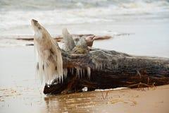 Eisfische Barke, die auf den Strand legt Bedeckt mit Eis Lizenzfreie Stockfotos