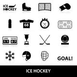 Eishockey-Sportschwarzikonen eingestellt Stockbild