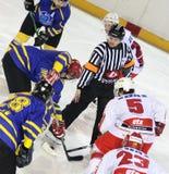 Eishockeyabgleichung Stockbild