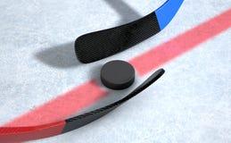 Eishockeysteuerknüppel und -kobold Lizenzfreies Stockfoto