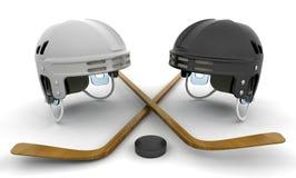 Eishockeysturzhelme, -steuerknüppel und -kobold Stockbilder