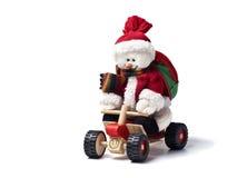 Eisig der Schneemann auf einer vierfachen Leitung Stockfotografie