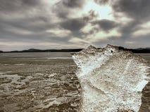 Eisige Blätter, die auf sandigem Strand schmelzen Ende von lang und crue Winterkommen Detail der Eisscholle Lizenzfreie Stockfotos