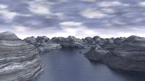 Eisige computererzeugte Landschaft Stockfotos