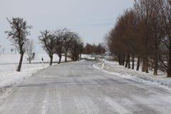 Eisige Fahrbahn Stockfoto