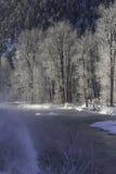 Eisige Flussbänke stockfotos